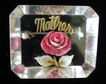 Vintage Lucite Rose Mother Pin