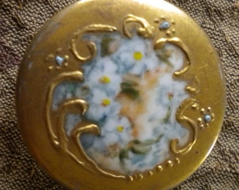 Victorian Gold Hand Painted Porcelain Button