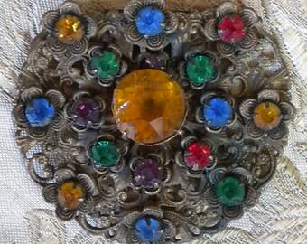 Lovely Brass Multi Color Rhinestone Dress Clip