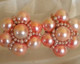 Vintage Pink Pearl Clip Earrings