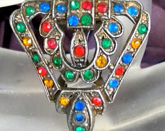 Vintage Multi Colored Rhinestone Dress Clip