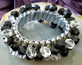 Vintage Black and Clear Crystal Beaded Expandable Bracelet