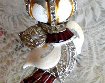 Coro Ruby Red White Enamel Floral Tumbler Dress Clip