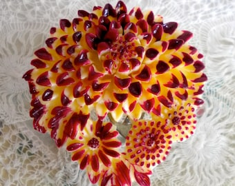 1930's Cream and Burgundy Celluloid Floral Dress Clip