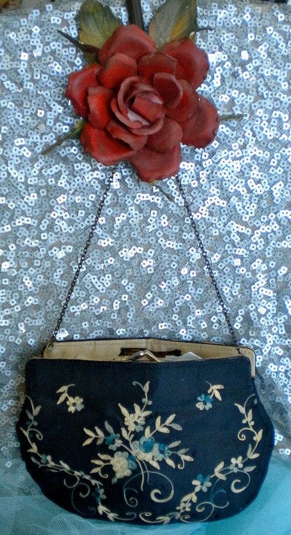 Navy Blue SIlk Floral Embroidered Purse