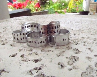 Personalized - Hand Stamped Aluminum Ring - Custom Stamping