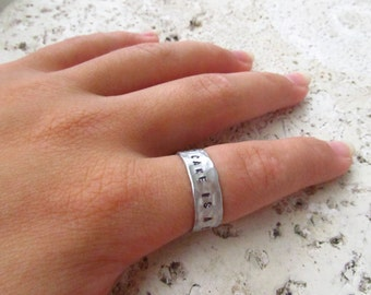 The Cake is a Lie, Custom Hand Stamped Ring, Personalized Jewelry, Portal Jewelry Gift, Stacker Ring, Stackable Rings, Humor, Birthday Gift