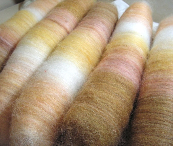 Honey Spinners Roll-Ups, self striping batts in  homegrown wool and alpaca blend in shades of transitioning honey  yellow and gold