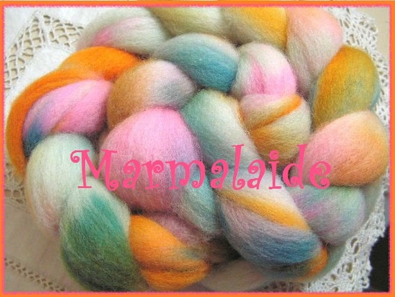 Top hand dyed 56s, 29 micron soft wool top for spinning and felting Marmalaide 2.5 oz.