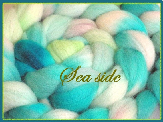 Hand dyed 56s, 29 micron soft wool top for spinning and felting Sea Side 4.5 oz.