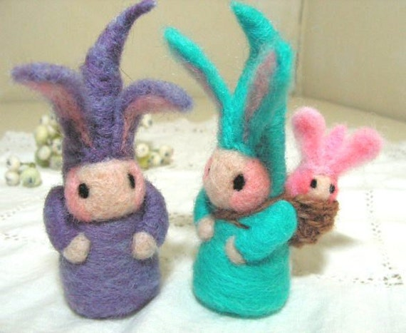 Gnome bunny doll family needlefelted pastel colors,  toy or fun spring decor for children
