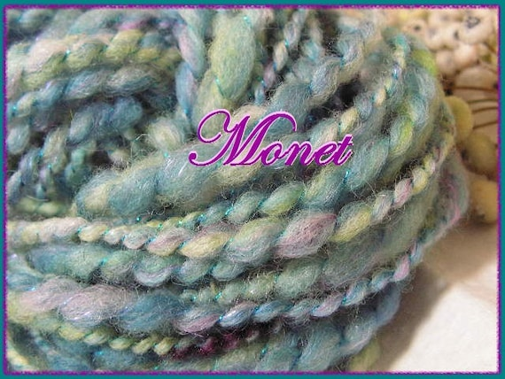 Handspun homegrown wool art yarn 37 yards extra bulky Monet blue multi colored colorway sparkling blue wrap