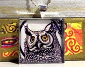 Silvery Great Horned Owl NECKLACE