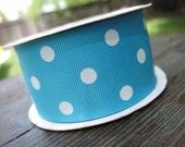 Reserved for  avahsmomma turquoise blue grosgrain ribbon with white polka dots Grosgrain ribbon 1.5 inch