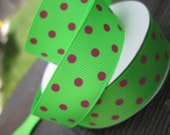 2 yards of Neon Green / Watermelon Green grosgrain ribbon with hot pink polka dots 7/8 inch