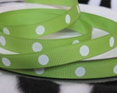 2 Yards of Apple Green with big white polka dot Grosgrain ribbon Lollipop candy 3/8 inch