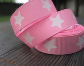 Princess Pink Grosgrain Ribbon with white stars 5/8 inch