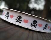 Princess Punk Crossbone Skull heart Grosgrain Ribbon 3/8 inch 3 YARDS