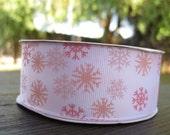 Snowflake Snowbunny winter wonderland Glitter White Grosgrain ribbon with pink, light pink and rose Grosgrain Ribbon 1.5 inch 1 1/2