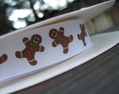Gingerbread man Christmas holiday cookie Grosgrain Ribbon 7/8 inch