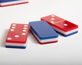 Very Nice Red White and Blue Double Nine Set of Dominos in Wood Box