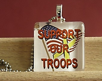 Support Our Troops Glass Tile Pendant