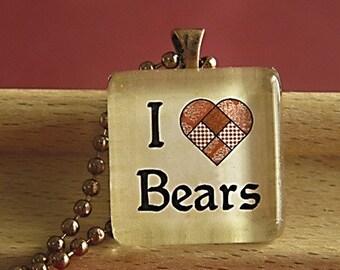 I Love Bears Glass Tile Pendant