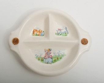 Vintage Divided Little Bo Peep Baby Dish