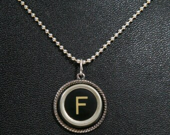 The Letter F Vintage Typewriter Key Pendant