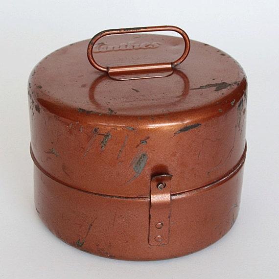Unusual Round Metal Lidded Box