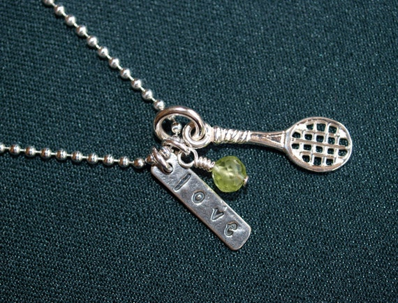 Sterling Silver Tennis Charm Necklace