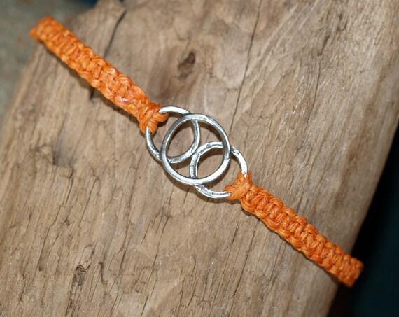 Irish Waxed Linen Triple Ring Bracelet