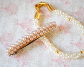 antique pearl hair pin and bracelet