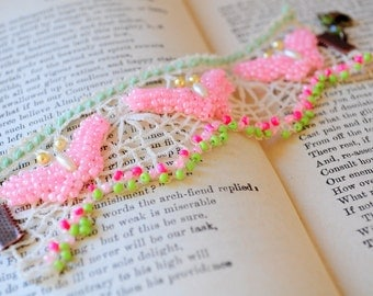 Butterfly effect.. handmade Vintage lace bracelet with pink beads