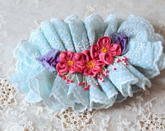 Marie antoinette.. Handmade shabby aqua blue eyelet trim ruffle pink ribbon rosettes ribbonwork flowers hairpiece fascinator hair clip