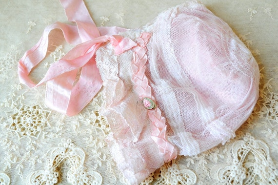 antique lace pink ribbon work bonnet rosette