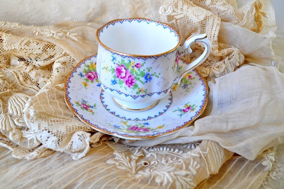 Tea time.. Cute vintage shabby pink rose needle point china teacup set