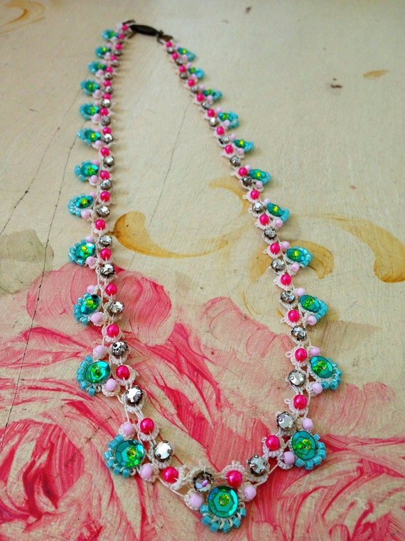 Peacock.. handmade tatting lace necklace flapper blue sequins rhinestones pink pearls bohemian