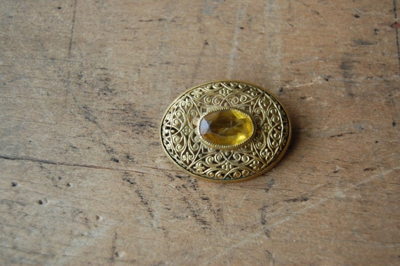 vintage filigree brooch / 1920s jewelry / SATSUMA