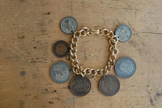 vintage 1950s British coin bracelet // HADRIANS WALL