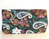 RENSKE- Floral beaded sequin clutch