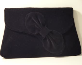 ROXIE- 1920's Asymetric  bow flap clutch bag in Black