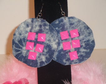 Hot Pink studded acid washed fabric earrings
