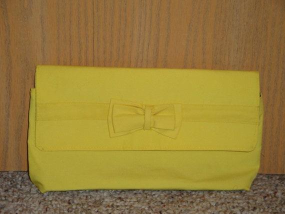 ROGAN-  Hot Yellow Canvas clutch w/ Bow