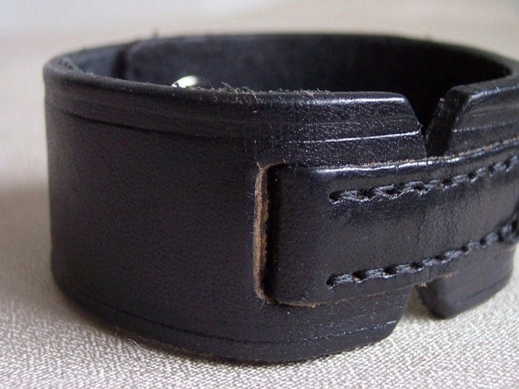 Upcycled Black Leather Cuff
