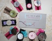 Button and Ribbon Hair Clips