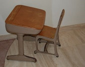 Reserved do not buy........Vintage Wood and Metal School Desk and Chair at Retro Daisy Girl