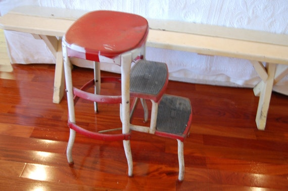 Vintage Farm Kitchen Step Stool Red And White By Retro Daisy