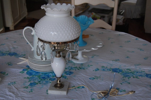 Vintage Hobnail Lamp with Crystals - Shabby Chic at Retro Daisy Girl