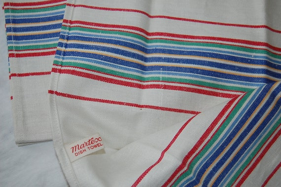 Vintage Martex Dish Towels...Red, Blue, Yellow, Green Stripe at Retro Daisy Girl